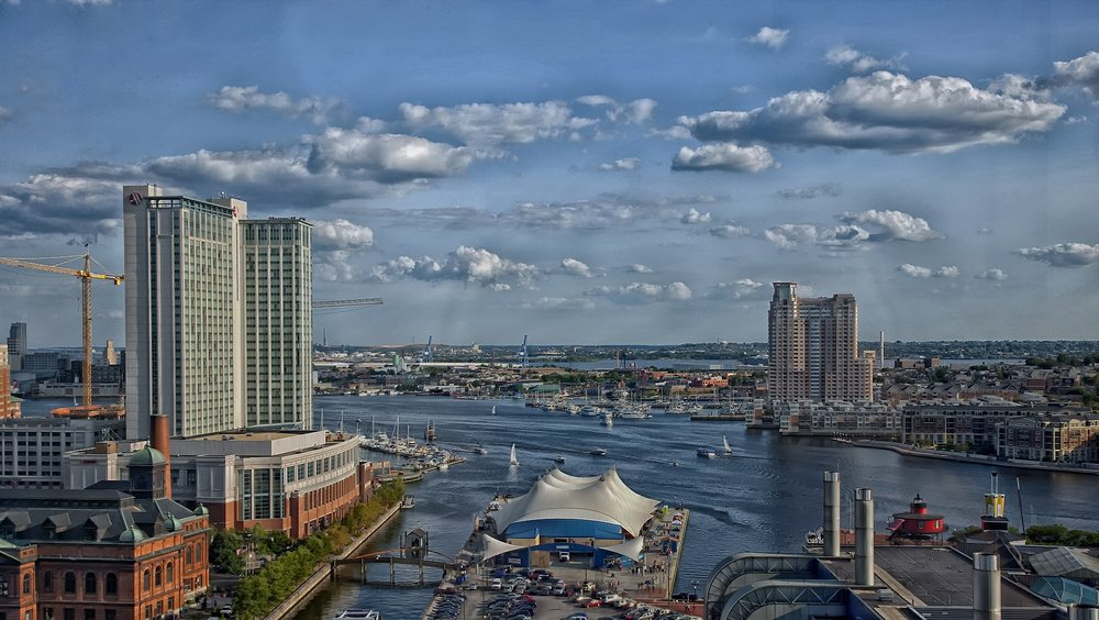 Baltimore harbor. Maryland is #6 nationally with optimistic small business owners outnumbering pessimistic ones 9 to 1.
