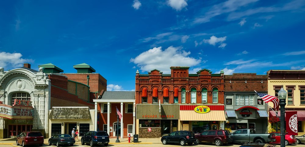 Local businesses line 4th Avenue in Baraboo, Wisconsin.