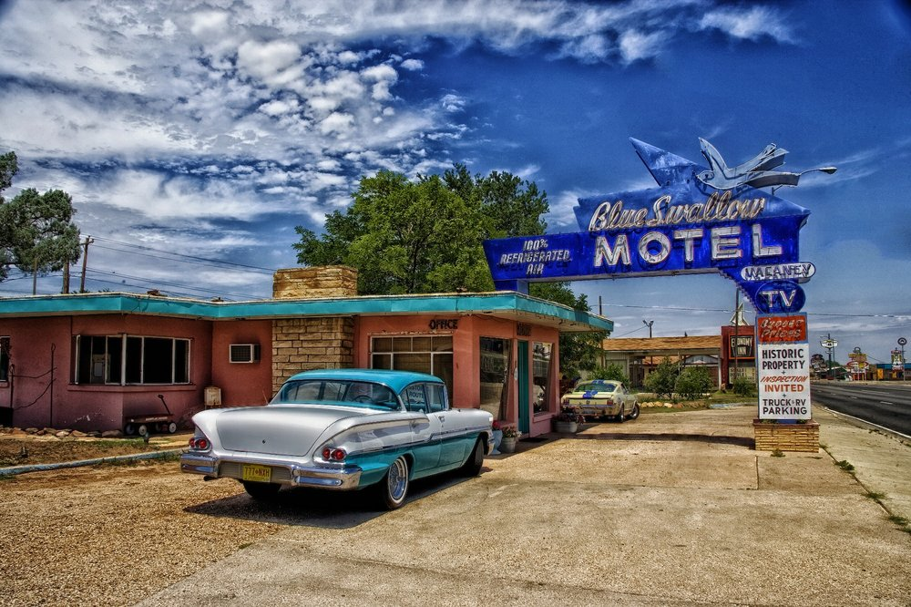The historic Blue Swallow Motel in Tucumcari, New Mexico. The Land of Enchantment has 8 optimistic small business owners for every pessimistic one.