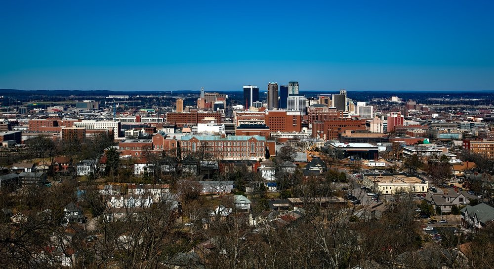Cityscape of Birmingham, Alabama. According to Womply's national survey, 76% of small business owners in the Heart of Dixie feel good about prospects this year.