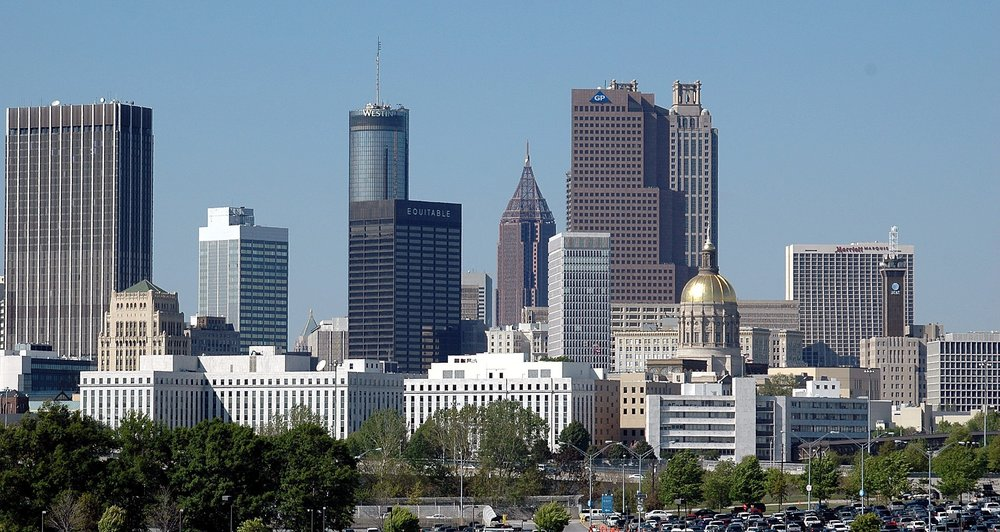 Cityscape of Atlanta, Georgia. The Peach State ranks #5 nationally for small business optimism, according to a national study by Womply.