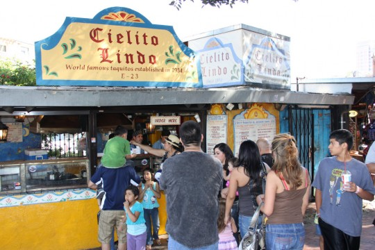 A taco stand on Olvera Street, Ceilito Lindo is famous for its taquitos and avocado sauce.