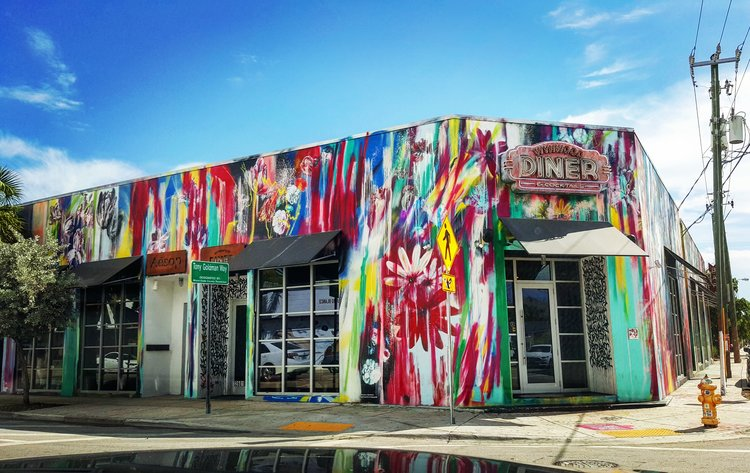 """A quirky twist on the diner concept, the Wynwood diner is an indoor-outdoor multifunctional space """"for today's modern urbanite to dine, work and play."""""""