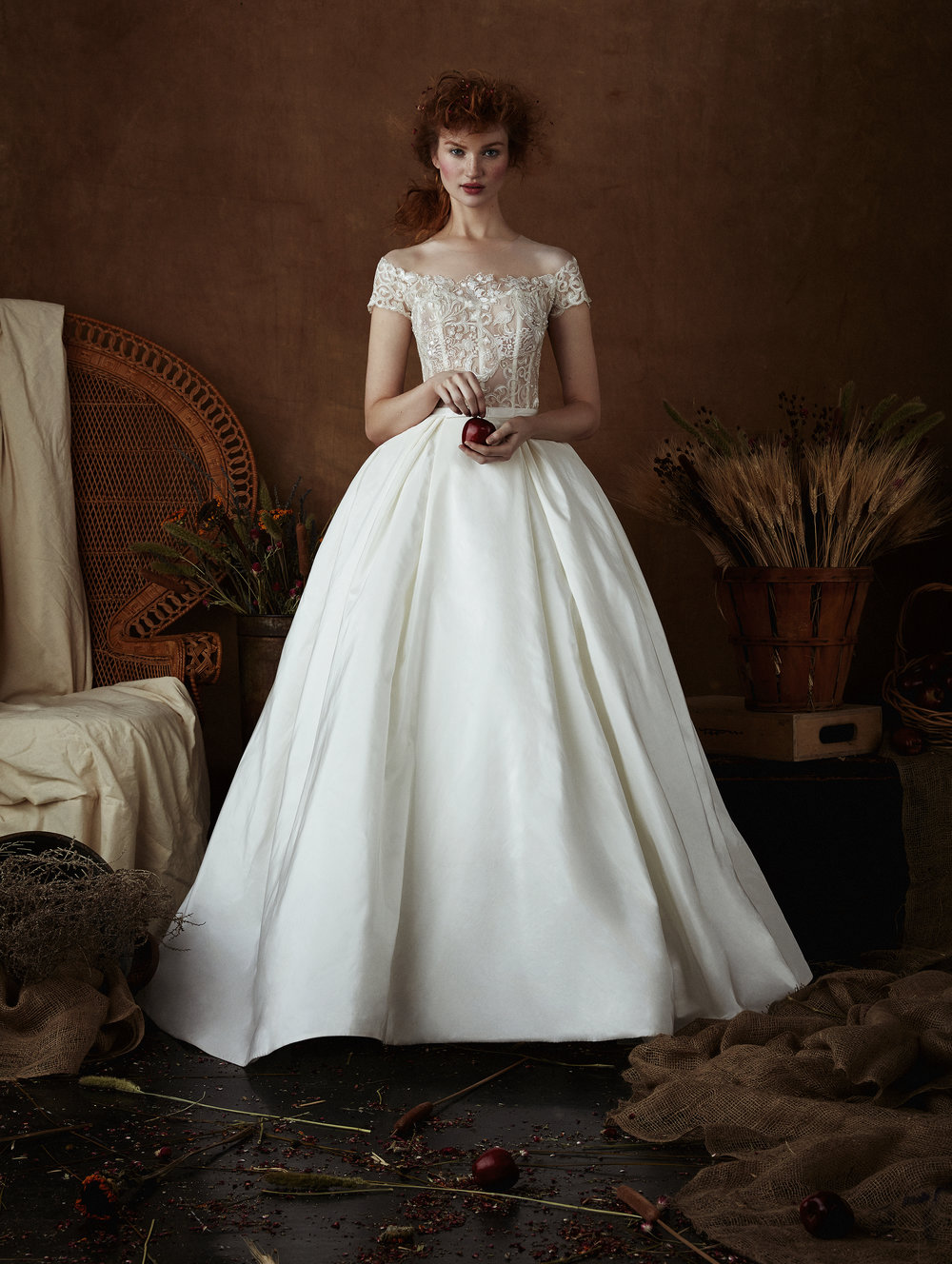 SASA Satin & Lace Off-the-Shoulder Ball Gown ~ Spring 2018 Collection