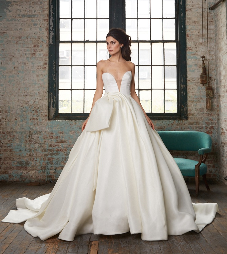 BRETT Silk Gazar Deep V-Neckline Ball Gown ~ Spring 2017 Collection