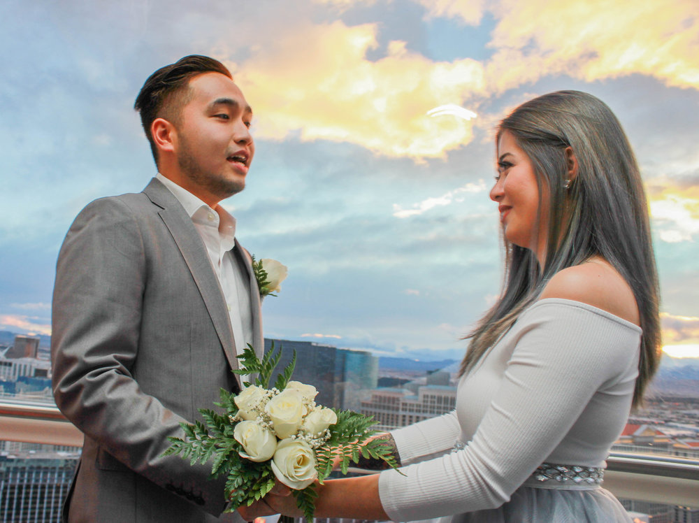 Bride and groom on The High Roller