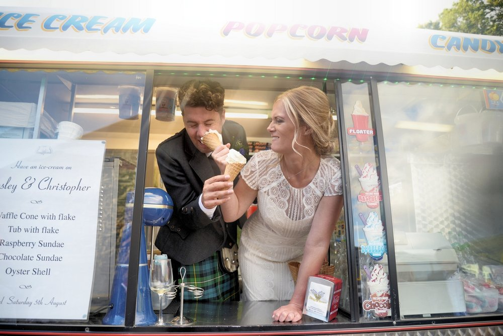 Ice cream van fun at wedding