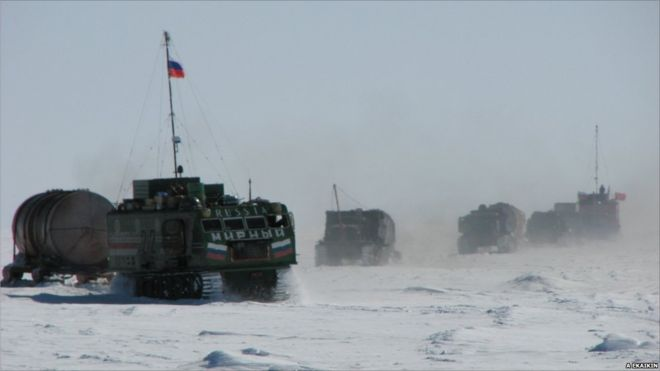 Kharkovchanka Vehicles on the Mirny to Vostok Traverse