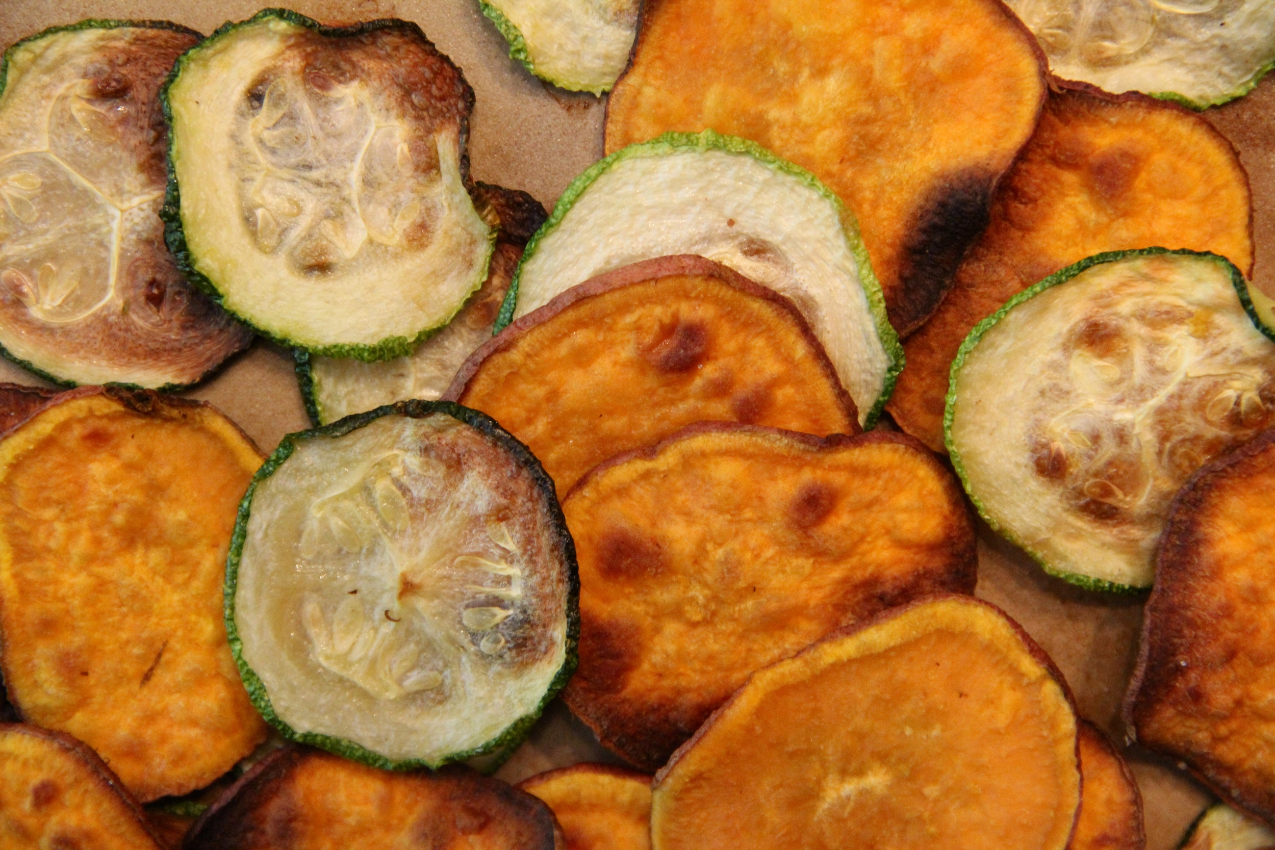 homemade sweet potato chips and zucchini chips