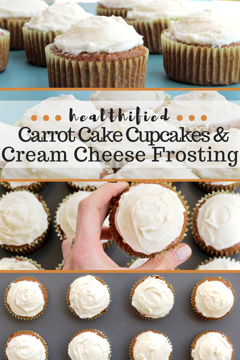 Healthified Carrot Cake Cupcakes and Cream Cheese Frosting