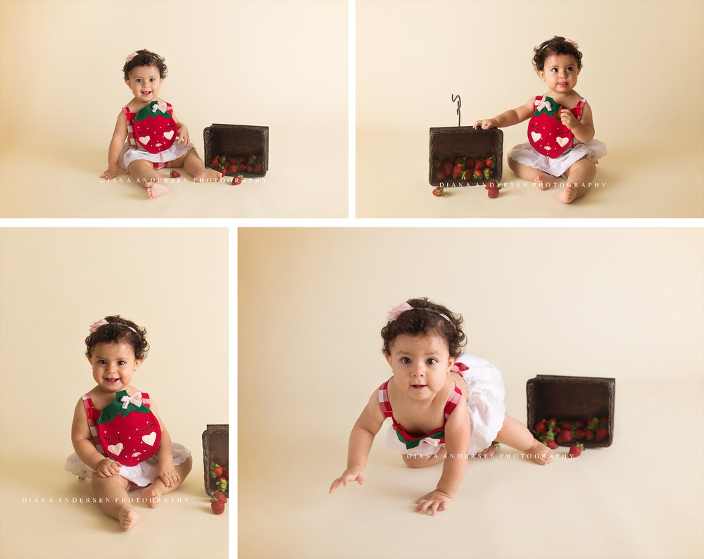 sitter baby session with strawberry outfit and fruits in studio