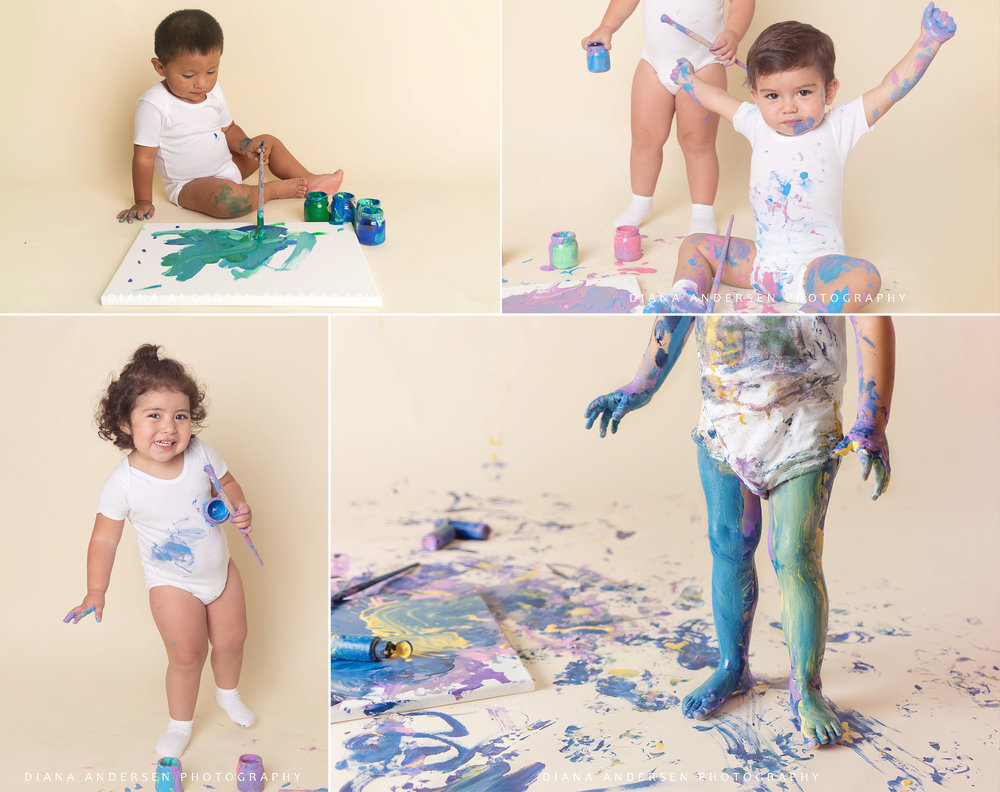 Baby paint smash session with non-toxic paint in Wyoming