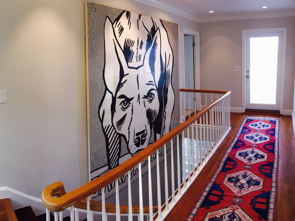 Artist: Roy Lichtenstein   This was a project for interior designer Aaron Osborne for a client in Petaluma Ca.  We mounted 4 pieces together on raw canvas to create the single image, then stretched the piece in the clients home as it was too big to go through the door.