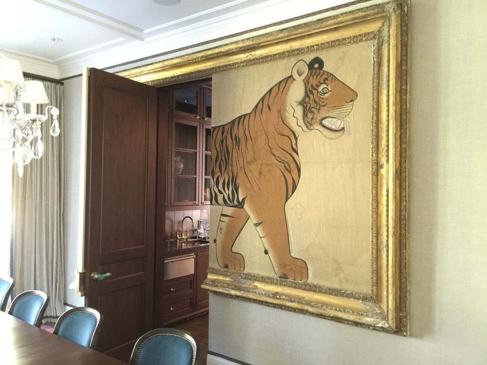 This was a project for Interior designer  Peter Dunham . We stated with this massive frame that was 3 feet too tall for the piece, and the tiger began as a folded tapestry.
