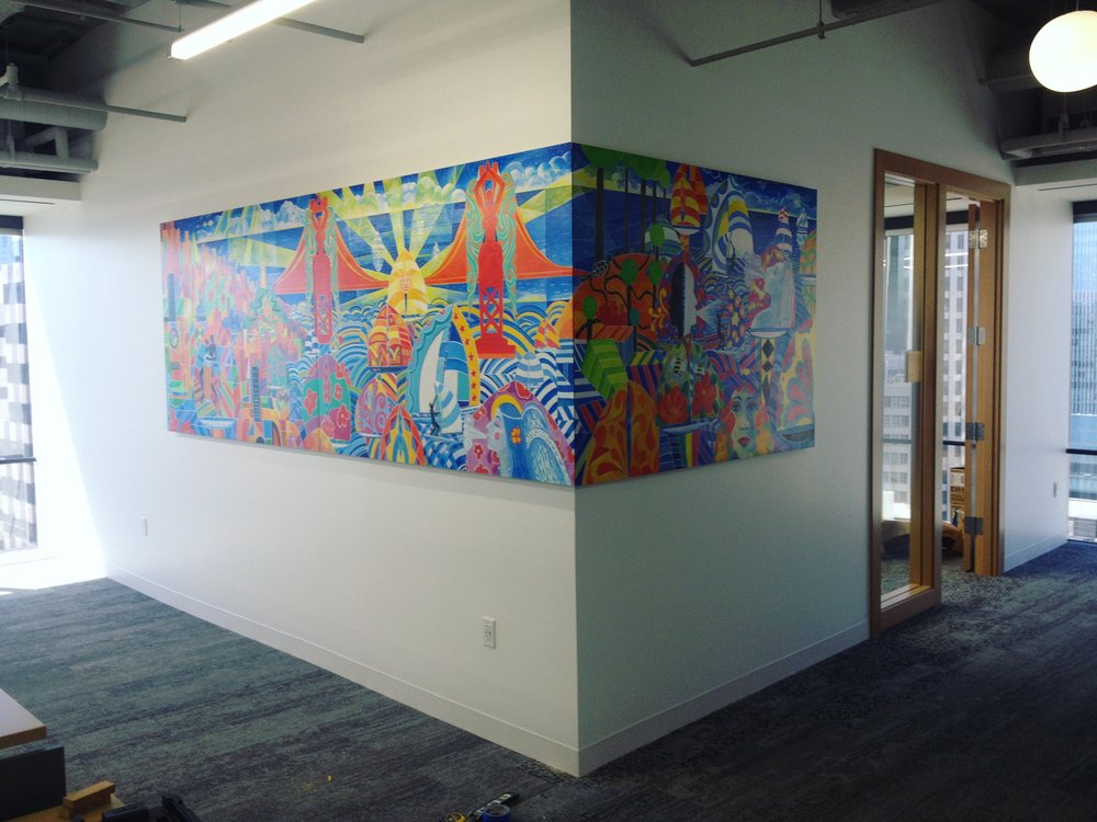 Commission for  Google . Artist:  Michael Rios . Note that the image wraps around the wall seamlessly.