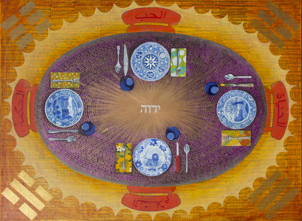 "Vantage Point, by Carmen Melton  The center of Vantage Point is Hebrew for God. The painting can be hung in any direction and the perspective is still ""right"". The background of the painting is made up of layers of gospel hymnals and references/writing from other religions and philosophical perspectives. Each place setting represents individual preferences, personalities, concepts, etc."