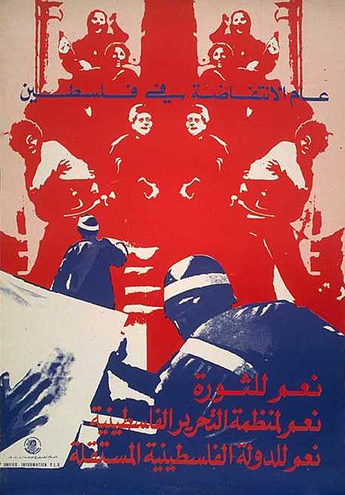 Translation/Interpretation/Caption Text: Arabic translation (text at top): The year of the uprising (intifada) in Palestine (text at bottom) Yes to the revolution Yes to the Palestine Liberation Organization Yes to an independent Palestinian state