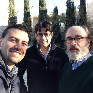 Omar Tesdell, Munir Fakher El-Din,  and  Messick  at Birzeit, in front of the new Palestine Museum