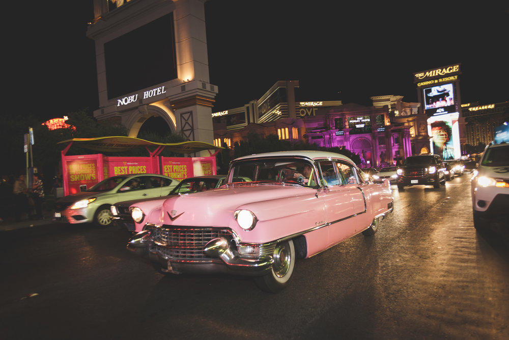 The Pink Cadillac cruising the Strip at night