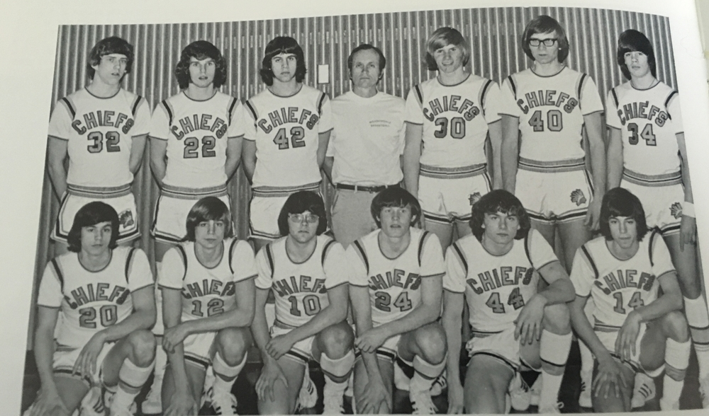 Back Row: Gary Morgan, Terry Bennett, John Daleo, Coach Phil Hull, Ron Honeycutt, Mark Wise, Larry Baldwin; Bottom Row: Bud McCorchuck, Jim Carrithers, Jeff Keyes, Dave Lawson, Rick Geston, Rod Lopez