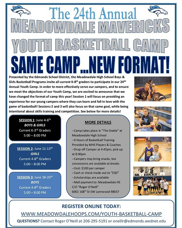 SAME CAMP - NEW FORMAT! Sign up today for our 24th Annual Youth Camp!  Session 1: June 4-6 Session 2: June 11-13 Session 3: June 18-20 Sign up at meadowdalehoops.com/youth-basketball-camp