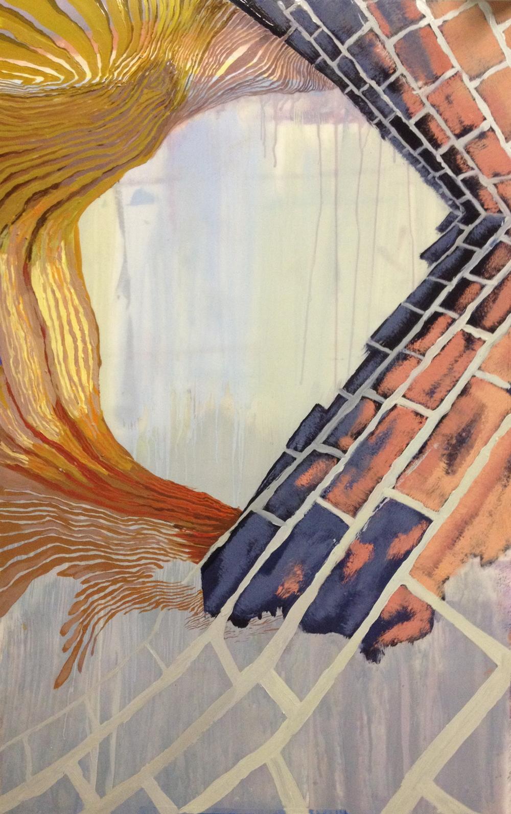 "Crapshoot     Oil on Mylar     40"" x 25""     2013"