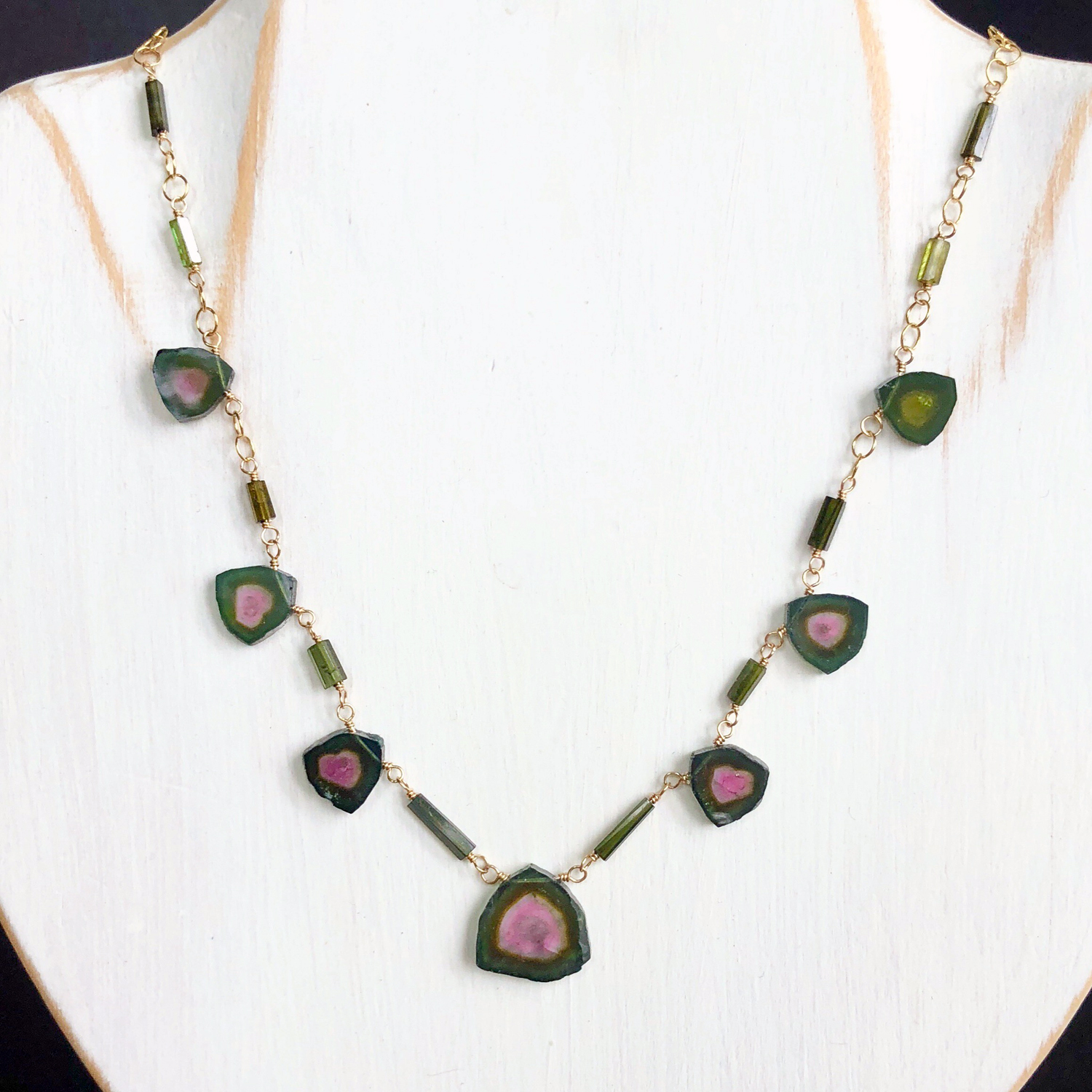 Watermelon Tourmaline Necklace Rainbow Tourmaline Smooth Oval Tourmaline Jewelry Multicolor Station Necklace FizzCandy Gift for Wife
