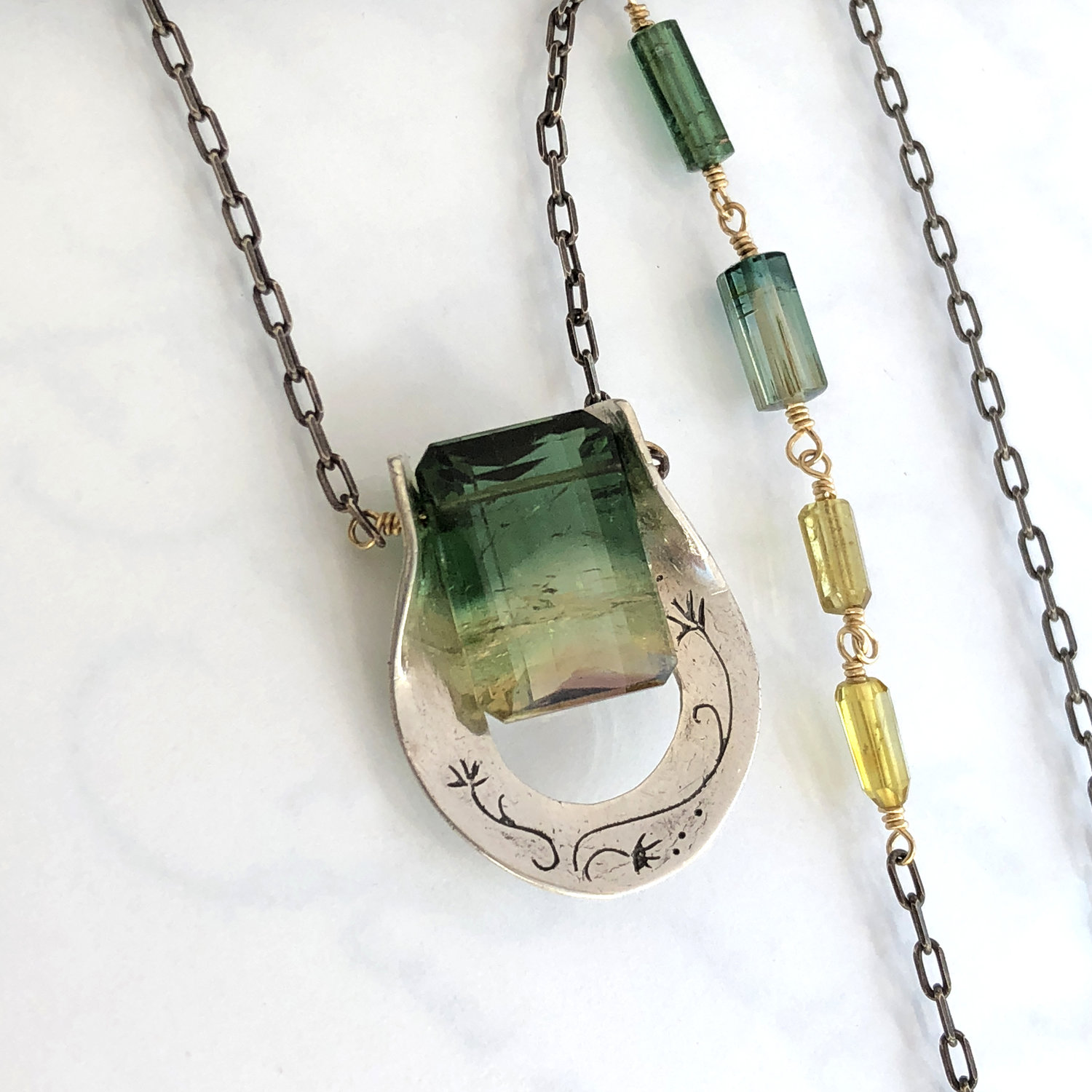 Large Faceted Watermelon Tourmaline Incredible Watermelon Tourmaline Pendant Tourmaline and Sterling Silver Necklace
