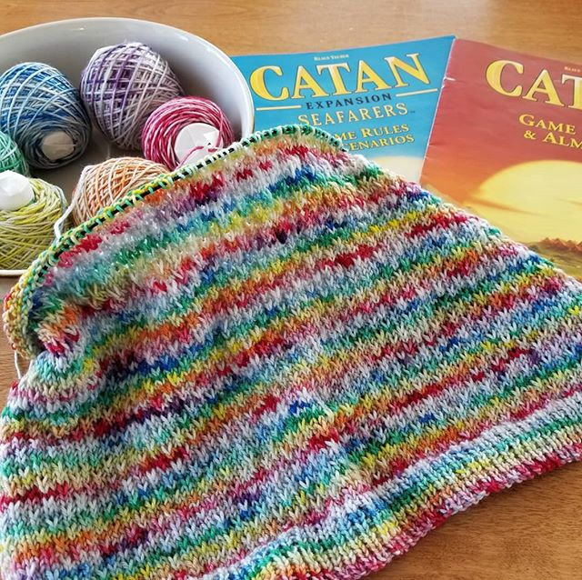This Sunday we played Seafarers Catan, and more work was done on the next version of the Color and Life Cowl! The mini kit is Dusky Rainbow by @knitstitchyarn . . #coloringlife #coloandlifepodcast #colorandlife #colorandlifedesignalong #jennuine #jennuineknits #knitstitch #knitalltheminis #knitallthecolors #knitallthecowls #cowl #knit #knitting #knittersofinstagram #knitters