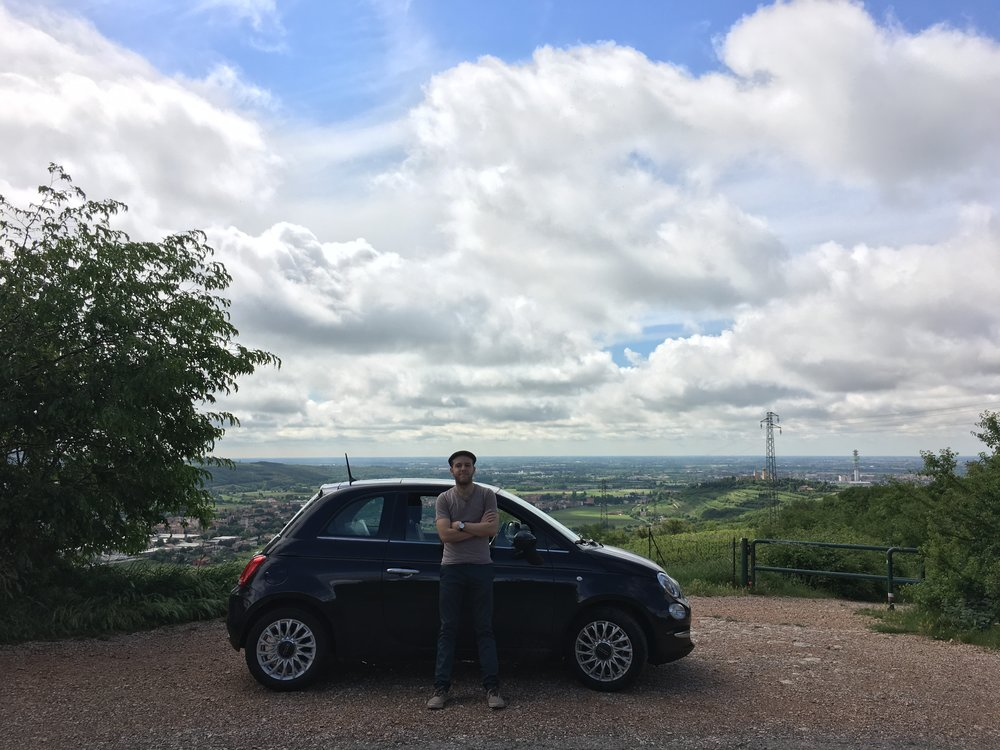 Jonathan and Bippity the Fiat in the hills outside Verona