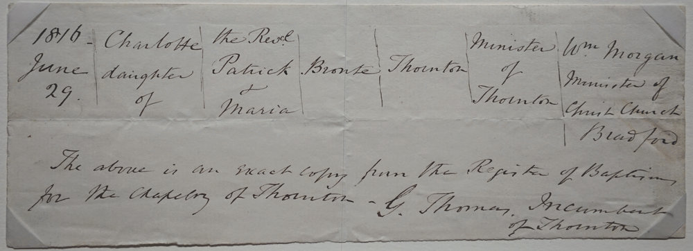 Charlotte's birth certificate.