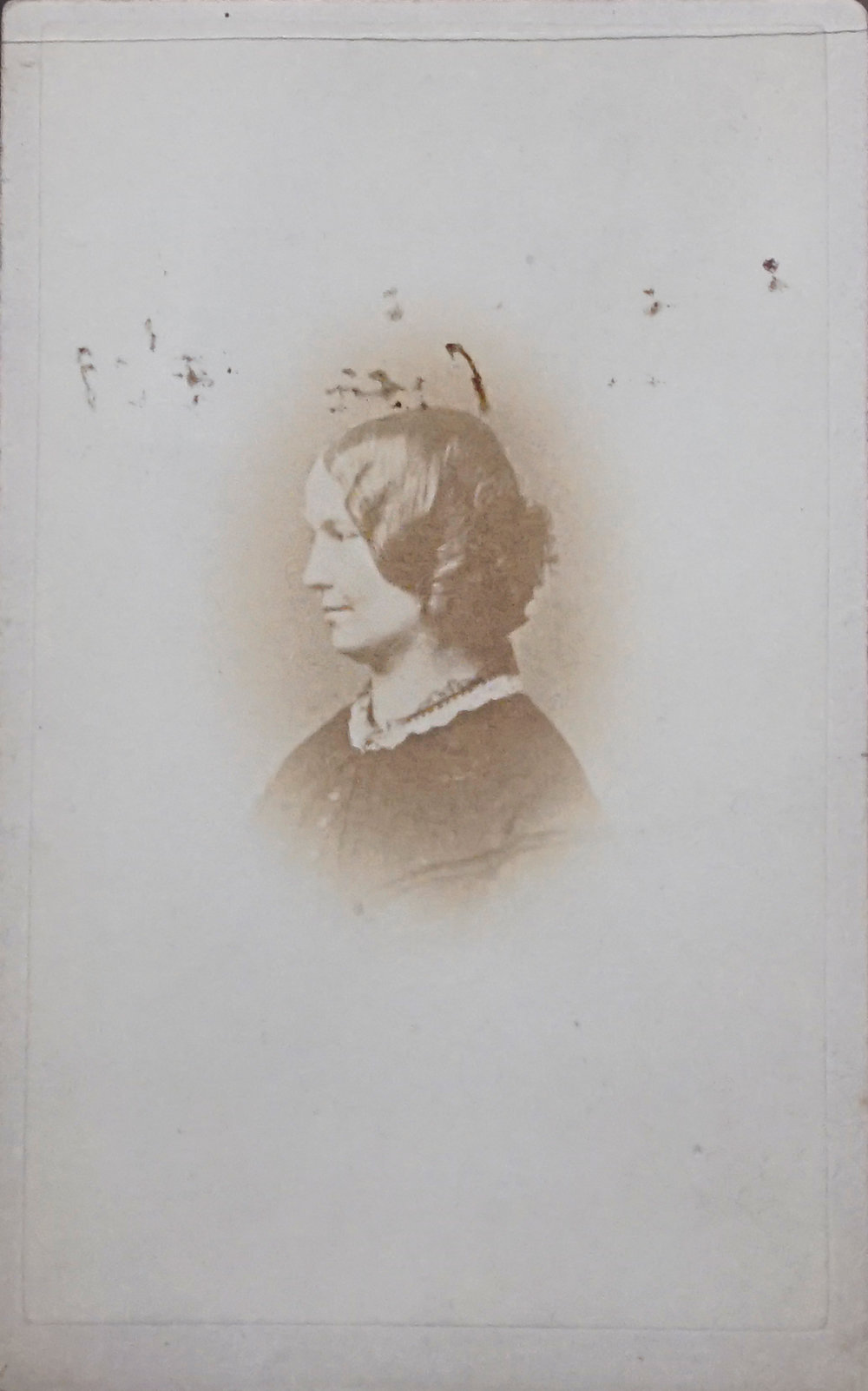 Since this photograph was discovered in the 1980's, many people have hoped to confirm that is the only surviving photographic likeness of Charlotte Brontë. It is, after all, marked on the verso  Within a year of CB's death,  apparently in the hand of Brontë's close friend Ellen Nussey, to whom many letters are addressed. But the woman depicted bears a strong resemblance to Nussey herself, who may simply have been noting that she had her own photograph taken within a year of her friend's death.
