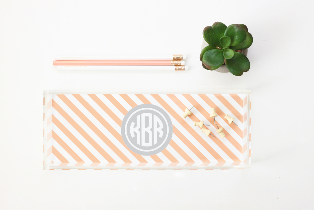 Monogram Acrylic Tray — When it Rains Paper Co. | Colorful and fun paper goods, office supplies, and personalized gifts.
