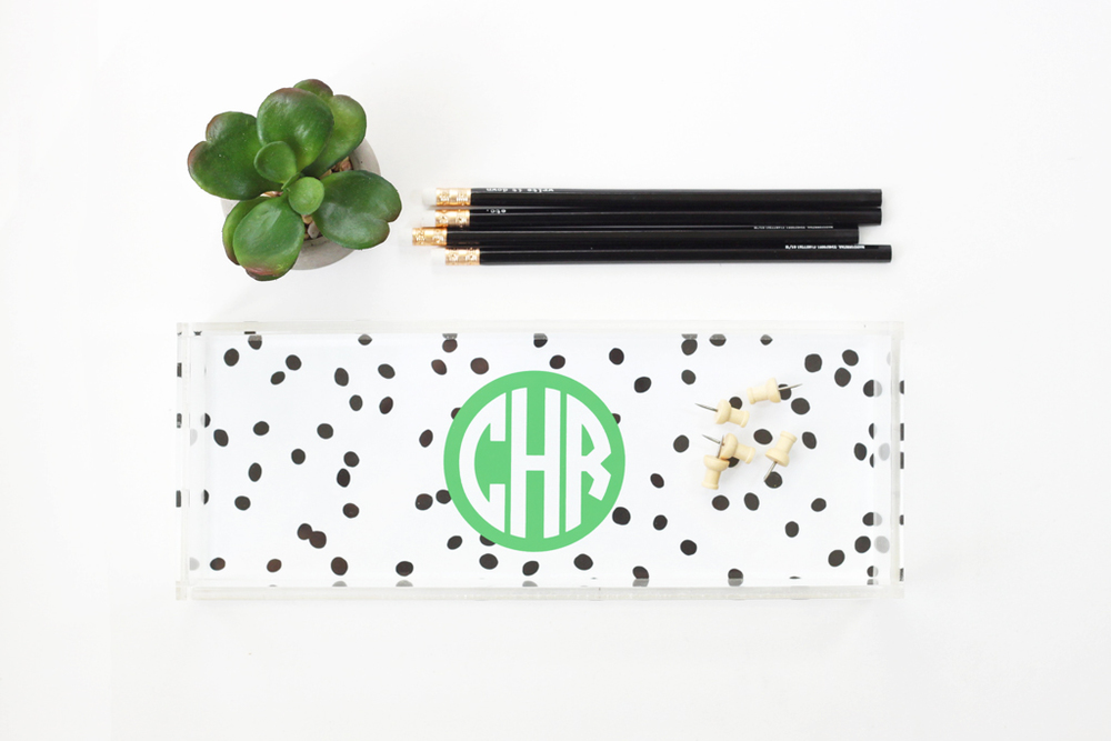 Polka Dot Acrylic Tray — When it Rains Paper Co. | Colorful and fun paper goods, office supplies, and personalized gifts.