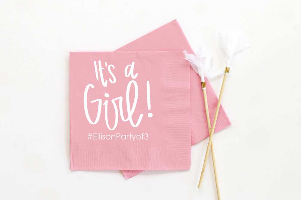Personalized Girl Baby Shower Napkins When It Rains Paper Co