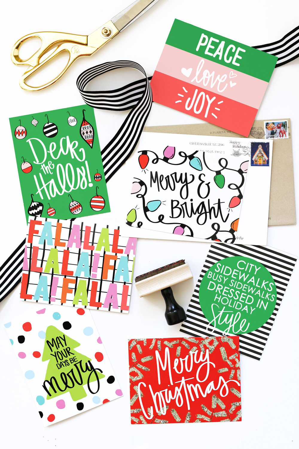 Personalized Christmas Cards — When it Rains Paper Co. | Colorful ...