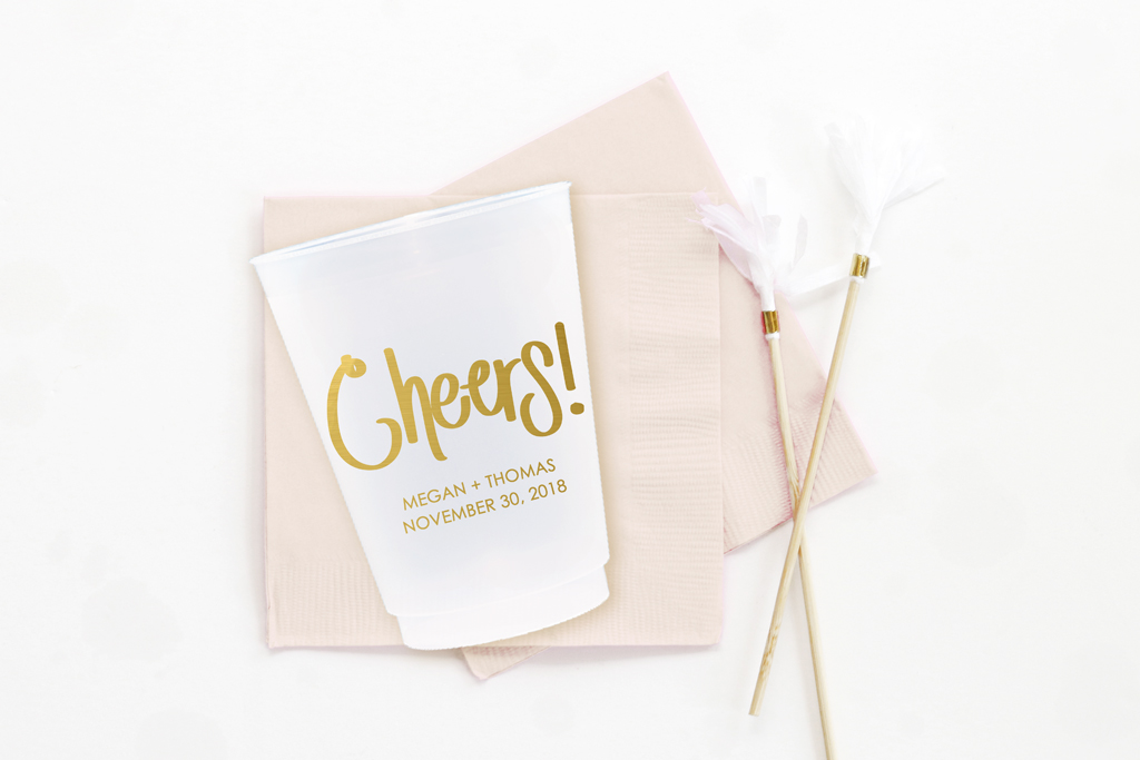 24ce92370 Cheers Personalized Wedding Cups — When it Rains Paper Co ...
