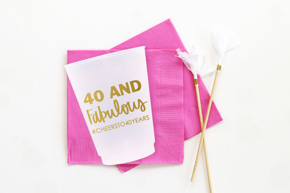 Personalized 40th Birthday Cups When It Rains Paper Co