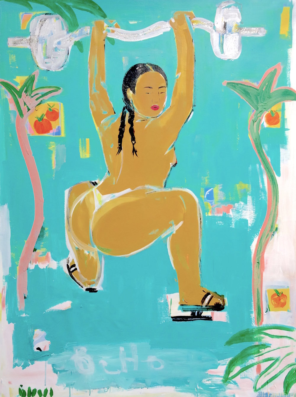 Squatting Between Orange Trees, 2017, acrylic on canvas, 48 x 36 inches
