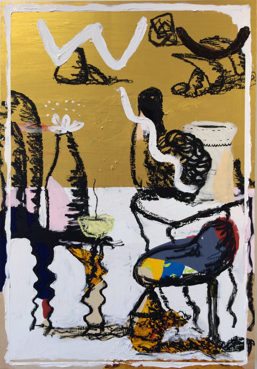 Baby Swing, Tables, Bottle, JK Ceramics // 2017 // Acrylic, paint stick, and pencil on wood panel // 44 x 30 inches