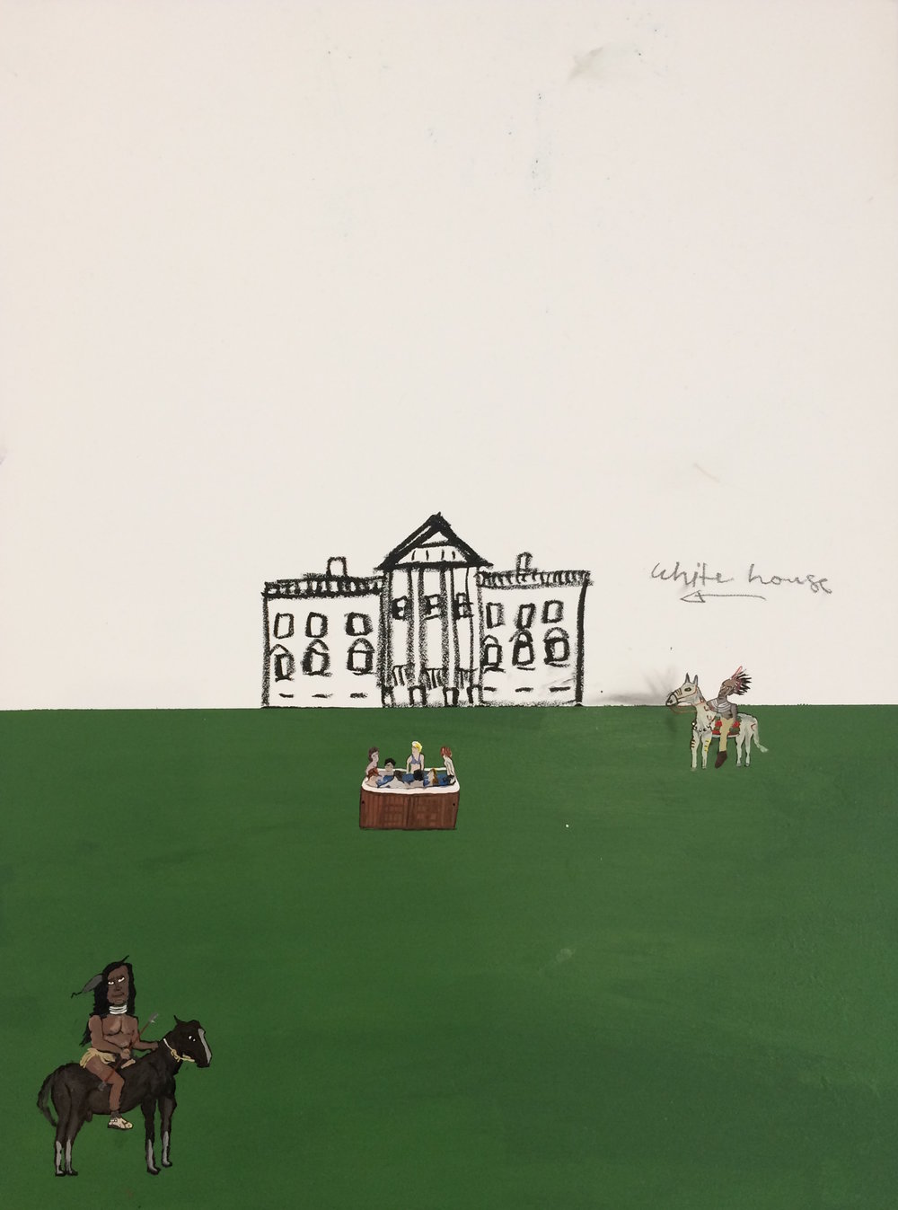 White House Series #4 / 2017 / Acrylic, house paint and pencil on wood panel / 24 x 18 inches
