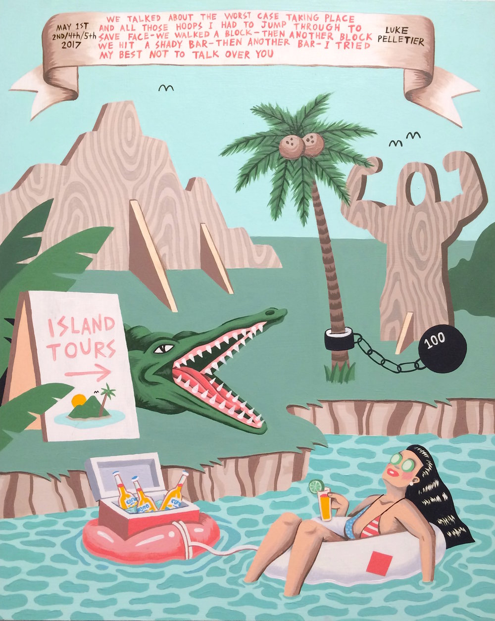Luke Pelletier / Island Tours / 2017 / Acrylic on wood panel / 20 x 16 inches