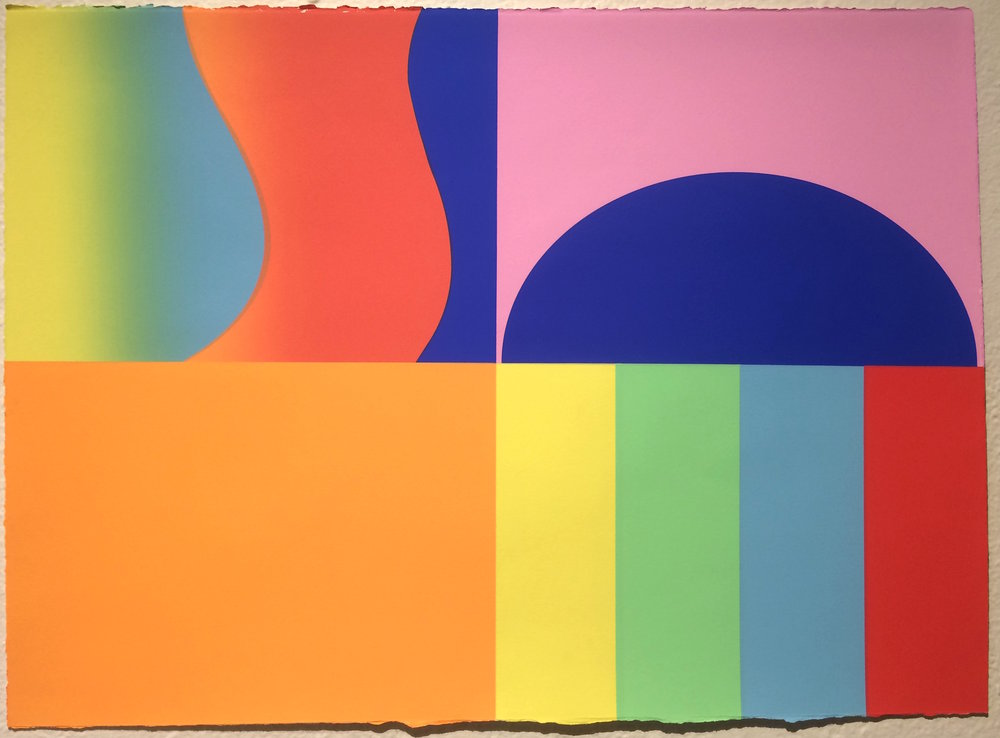 Michelle Miller / Queer Shapes #1 / 2018 / Silkscreen mono print on paper / 22 x 30 inches