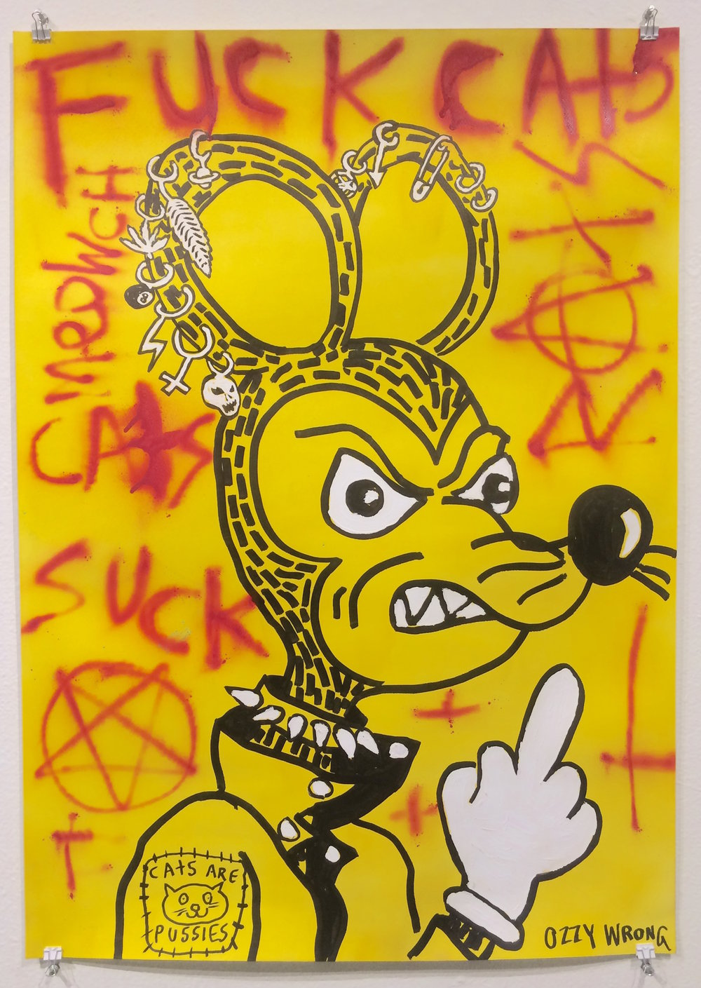 Ozzy Wrong / Cat's Suck / 2018 / Acrylic and spray paint on paper / 40 x 28 inches