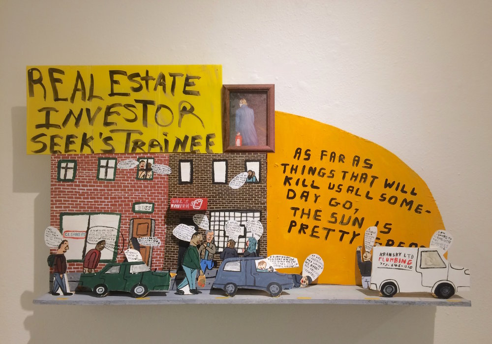 Don't Fret / Real Estate Investor Seeks Trainee / 2018 / Mixed media on wood / 48 x 30 inches