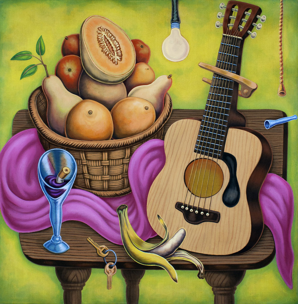 Pedro Pedro / Guitar Player / 2018 / Acrylic on canvas / 37 x 36 inches