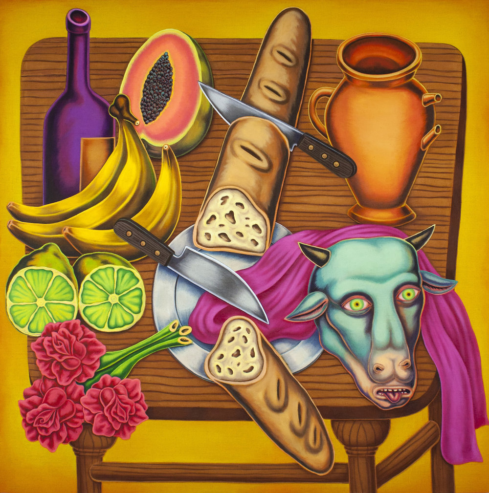 Pedro Pedro / No Meat At The Market / 2018 / Acrylic on canvas / 46 x 46 inches