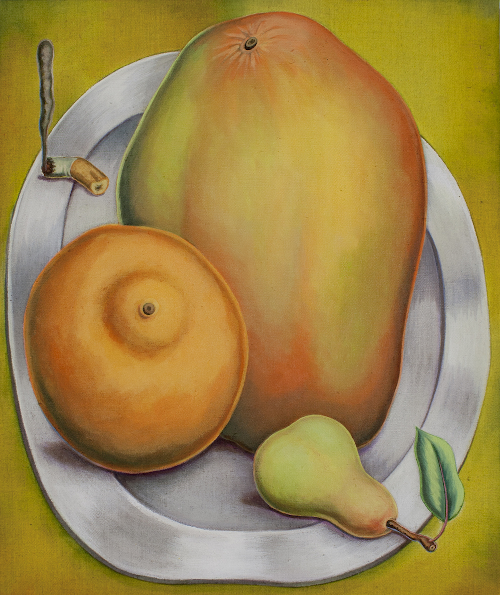 Pedro Pedro / Orange, Mango, Pear, Cigarette Butt / 2018 / Acrylic on canvas / 20 x 17 inches
