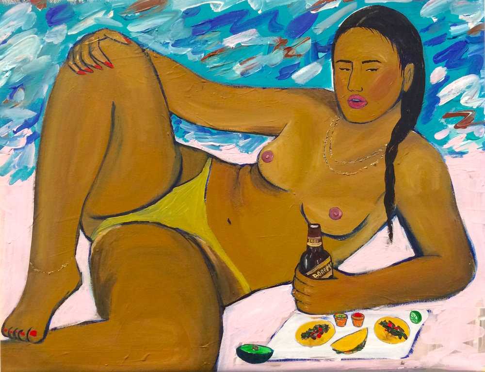 Monica Kim Garza / Yo Fui Amexico Y Tomè Una Bohemia Que Rico La Bohemia / 2015 / Acrylic on canvas / 21 x 26.6 inches