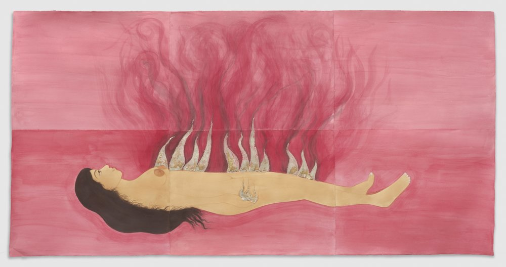 Hiba Schahbaz// Fire Woman // Tea, watercolor and gold leaf on Twinrocker (handmade paper) // 59 x 116 Inches // 2017